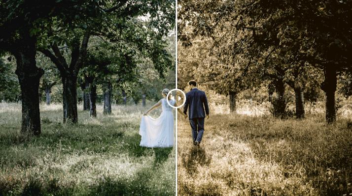 Un disparo antes y después de una edición de fotos con Sunset Lightroom Preset Boda terrosa predefinido para Lightroom