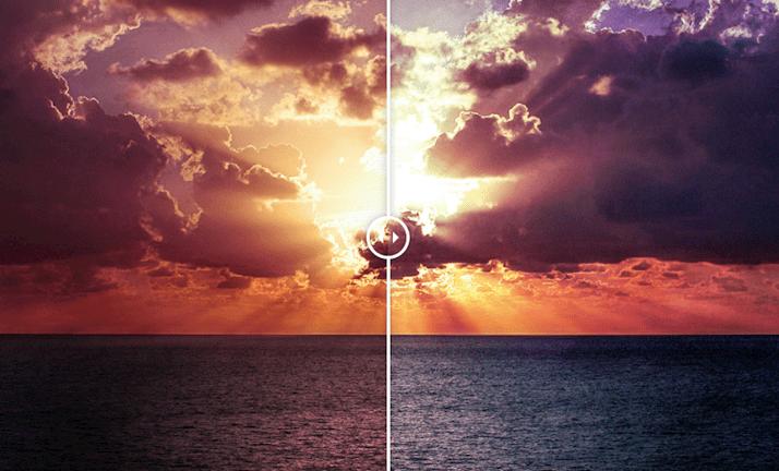 Un disparo antes y después de una edición de fotos usando el preajuste Sunset Lightroom