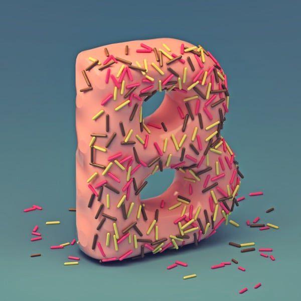 Letra de fuente de pastel 3D