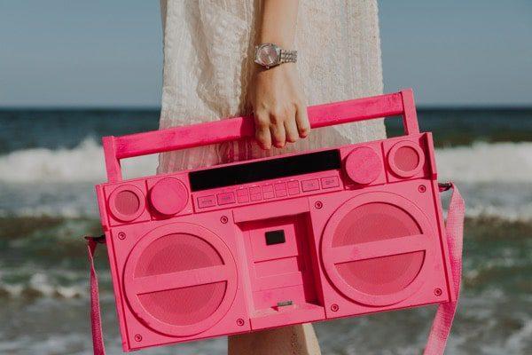Retro Rosa Portatil Estereo Cassete Player Playa