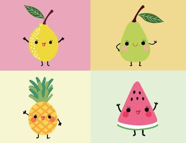 Ilustración de frutas kawaii