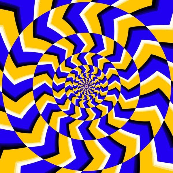 Ilustración de ilusión óptica de giro psicodélico