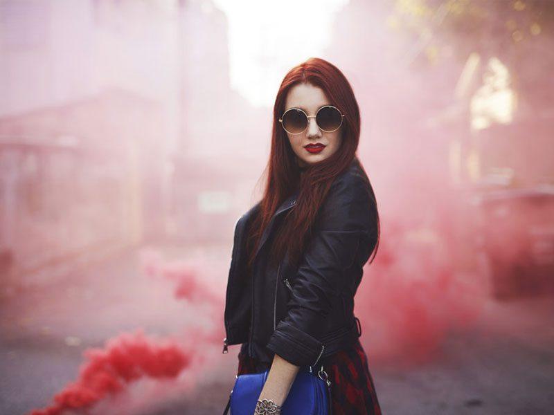 fotografía con bombas de color