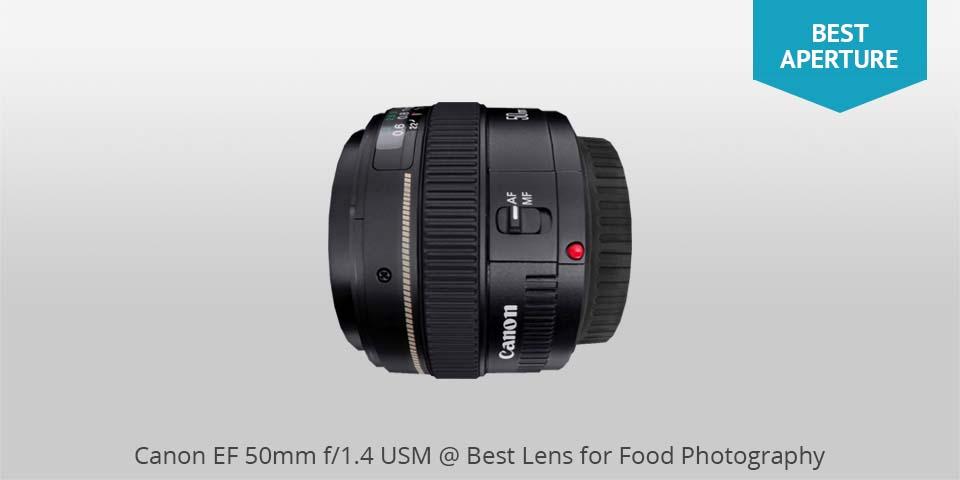 Los mejores lentes para fotografía de comida: Canon usm 50mm lente para comida photo