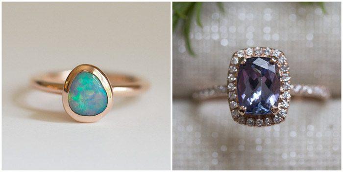 Dos imágenes de anillos para mostrar la diferencia entre usar diferentes fondos para la fotografía de producto