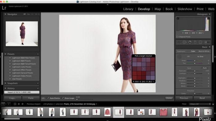 Uso de Lightroom para postprocesar las imágenes fotográficas de su producto