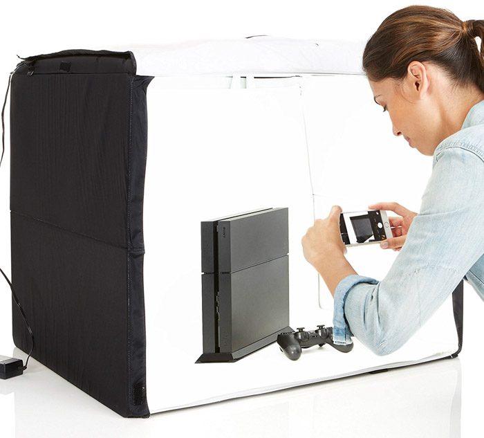 Un estudio móvil es una manera perfecta para que los principiantes comiencen con la fotografía de su producto.