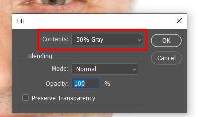 Tutorial de photoshop para eliminara la papada: eliminar los parámetros de relleno