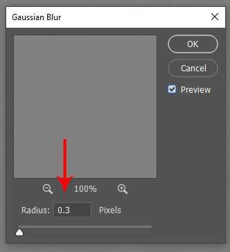 eliminar el radio de desenfoque de Photoshop de doble mentón