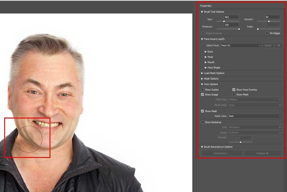 eliminar licuado de photoshop de doble mentón