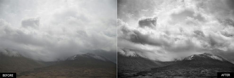 Ajustes de luz libres de vibraciones del paisaje