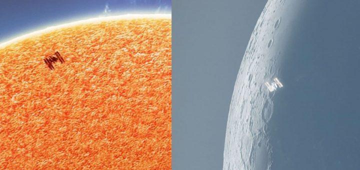ISS cruzando el sol y la luna